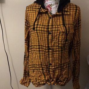 No boundaries boyfriend-style flannel hoodie